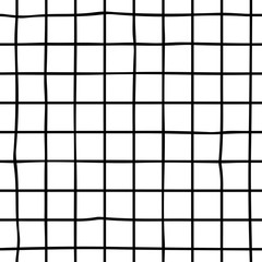 Trendy geometric hand drawn checkered seamless pattern. Stylish vector stock background for fabric, wallpaper, wrapping, textile, print. Black and white check, square, plaid, tile, school notebook
