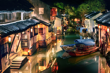 illuminated Zhouzhuang water town at night, Jiangsu, China