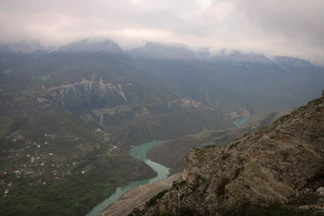 Sulak Canyon view by misty morning, Dagestan, Russia
