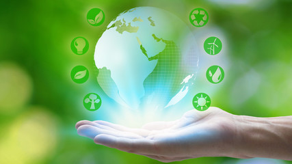 Hand holding with earth and environment icons over the Network connection on nature background, Technology ecology concept.