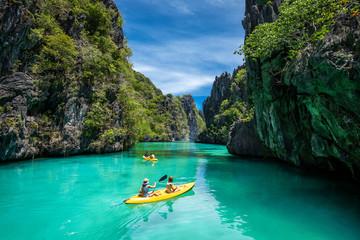 Palawan, Philippines, Tourists Kayaking and Exploring the Natural Sights Around El Nido