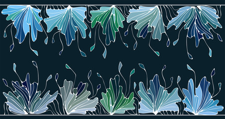 Bright borders frame from blue, green,grey flower elemets on dark violet background. Suitable for postcard, invitations.