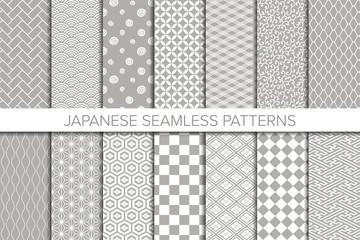 Set of Japanese background. Seamless pattern.Vector. 和風パターンコレクション
