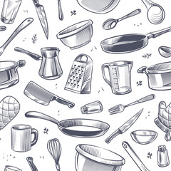 Cooking utensils seamless pattern. Sketch kitchen tool, kitchenware. Pan, knife and fork, grater chef utensils vector gastronomy texture