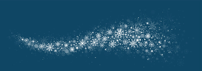 winter snow background with hand drawn snowflakes silhouette