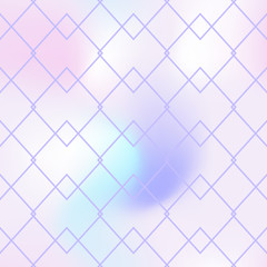 Regular seamless pattern on light pink background. Iridescent gradient mesh. Ar deco geometric ornament