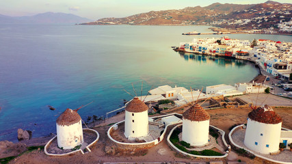Aerial drone panoramic photo of picturesque old port in main village of Mykonos island at sunrise with beautiful colours, Cyclades, Greece