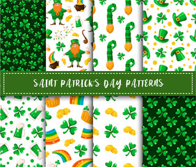 Saint Patrick day seamless pattern set - shamrock, leprechaun, bowler hat, cute dwarf, golden coins treasure, magic rainbow - traditional holiday vector background for wrapping, textile, digital paper
