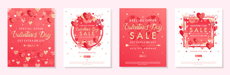 Bundle of Valentines Day special offer banners with hearts and golden foil elements.Sale templates perfect for prints, flyers, banners, promotions, special offers and more.Vector Valentines promos.