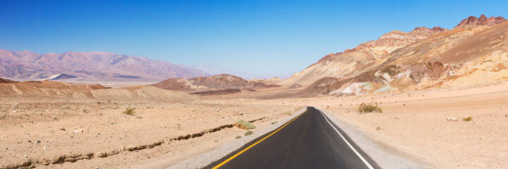 Road through the desert of Death Valley National Park