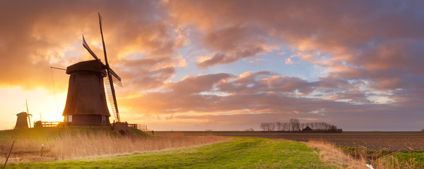 Traditional Dutch windmills at sunrise in The Netherlands
