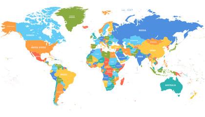 Kolorowa mapa świata. Mapy polityczne, kolorowe kraje świata i nazwy krajów. Geografia polityka mapa, atlas lądowy świata lub planety kartografii ilustracji wektorowych