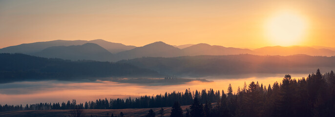 Majestic autumn scenery of foggy valley at Carpathian mountain range at early morning sunrise. Beautiful tonal perspective wide angle panorama.