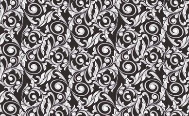 Retro decorative black and white seamless pattern