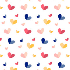 Seamless pattern of cute love hearts in cartoon style in bright and pastel colors. Simple seamless pattern for background, wrapping paper, fabric surface design, for St.Valentine day