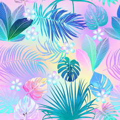 Tropical jungle palm leaves seamless pattern, vector background