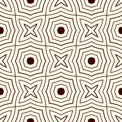 Outline ethnic abstract background. Seamless pattern with symmetric geometric ornament. Vector illustration
