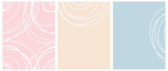 Simple Seamless Geometric Vector Pattern and Layouts. White Free Hand Lines Isolated on a Light Blue, Pink and Cream Background. Simple Abstract Vector Prints Ideal for Layout, Cover.