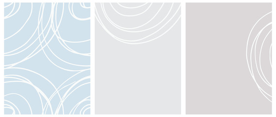 Cute Seamless Geometric Vector Pattern and Layouts. White Free Hand Lines Isolated on a Light Blue and Gray Background. Simple Abstract Vector Prints Ideal for Layout, Cover.