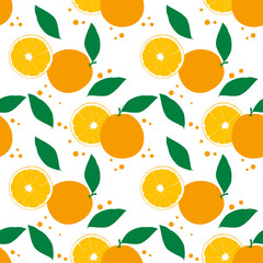 Seamless pattern with oranges. Summer tropical background.