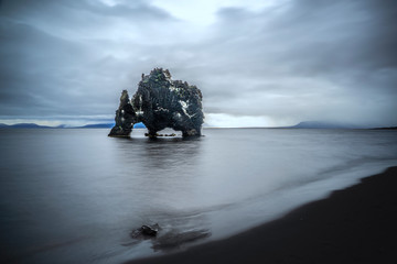 rock monolith of Hvitserkur in north western Iceland