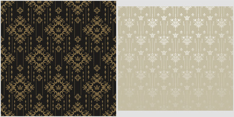 Vintage backgrounds, patterns. Two modern background pictures in retro style. Seamless vector backgrounds. Set of patterns. Colors in the image: black, gray, silver, gold. Vector image.