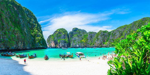 Panorama beautiful nature scenic landscape famous landmark beach Maya bay Krabi, Travel adventure Phuket Thailand, Tourism destination Asia plan, Popular travel place for summer holidays vacation trip