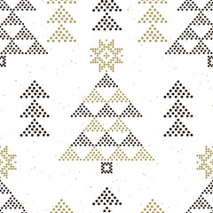 Abstract winter seamless pattern with Christmas trees on a white background. Geometric decor of polka dots. Vector .