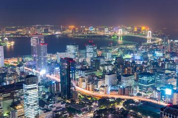 Tokyo, Japan over Tokyo Bay.