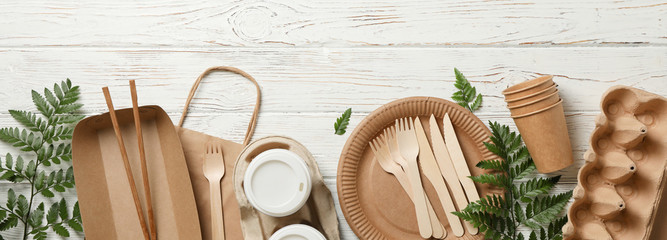 Concept with eco - friendly tableware and plant on wooden background, copy space