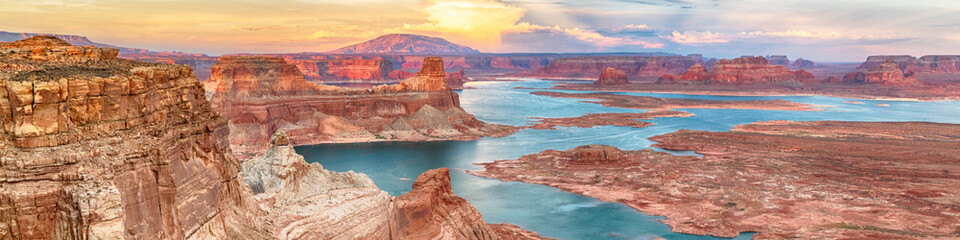 Lake Powell panoramic sunset landscape, Arizona, USA. Alstrom Point. Travel concept.
