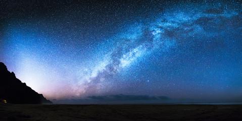 The Milky Way galaxy as seen from a remote Kalalau beach on the island Kauai of Hawaii.