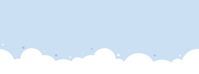 Cute white cloud on pastel blue sky bottom border seamless pattern.