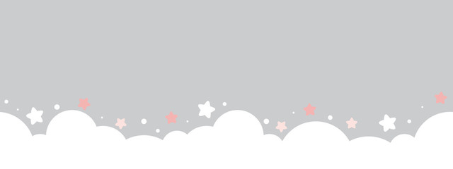 cute cloud and stars on pastel grey bottom border seamless pattern.