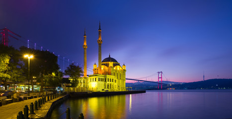 Ortakoy mosque and Bosphorus at dawn- Istanbul
