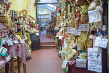 cheeses and cured meats typical of Italian cuisine. Food store in Umbria, Italy