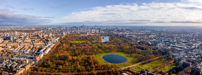Beautiful aerial panoramic view of the Hyde park in London, United Kingdom.
