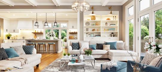 Luxurious interior design living room and white kitchen. Open plan interior.