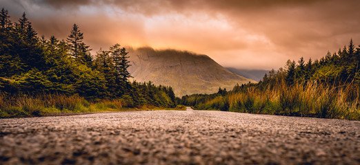 Road to Glen Brittle in the Isle of Skye, Scotland next to Glen brittle mountain in the Scottish Highlands.
