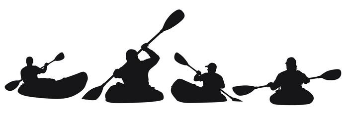 A vector silhouette of men kayaking.