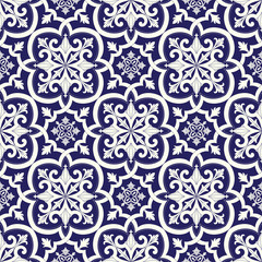 Italian tile pattern vector seamless with floral vintage ornaments. Portuguese azulejos, mexican talavera, italy sicily or spanish majolica motifs. Ceramic texture for kitchen wall or bathroom floor.
