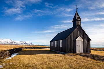 The black church of Budir on the Snaefellsnes peninsula, Iceland
