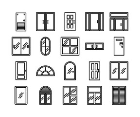 door and window icon set, vector and illustration, interior design concept