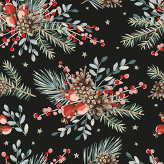 Christmas seamless pattern, red berries, green fir, pine twigs, cones bouquets, stars, black background. Vector illustration. Nature design. Season greeting. Winter Xmas holidays