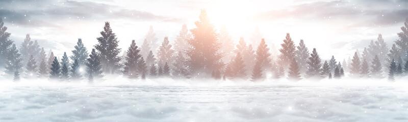 Zimowy abstrakcyjny krajobraz. Światło słoneczne w zimowym lesie. Panorama lasu krajobraz w zimie. Jasna zimowa przyroda.