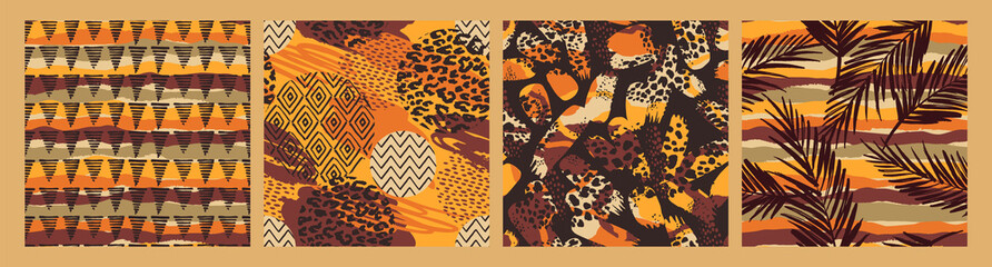 Set of Tribal ethnic seamless patterns with animal print, brush strokes and palm leaves.