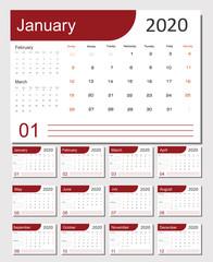 2020 Calendar Planner Design. Monthly scheduler. Week starts on Sunday. Set of 12 months. Vector illustrator.