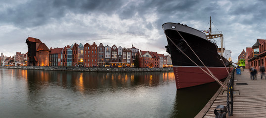 Cityscape of Gdansk with famous Museum ship Soldek.