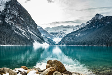 Lake louise panorama in winter with snow covered mountains, Banff National Park, Alberta, Canada