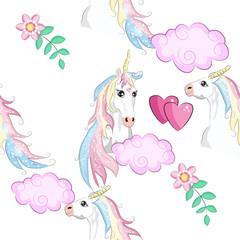 Seamless pattern with unicorn silhouette. Cute magic background. Fantasy wallpaper